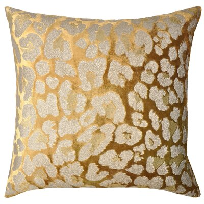 Leopard Metallic Velvet Throw Pillow Color: Gold