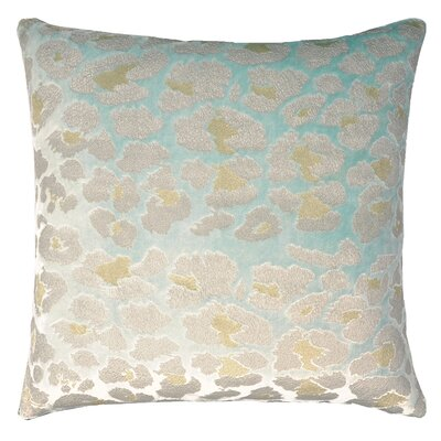 Leopard Metallic Velvet Throw Pillow Color: Mint