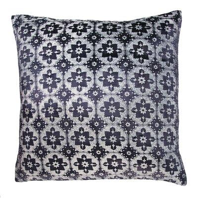 Small Moroccan Metallic Velvet Throw Pillow Color: Silver Black