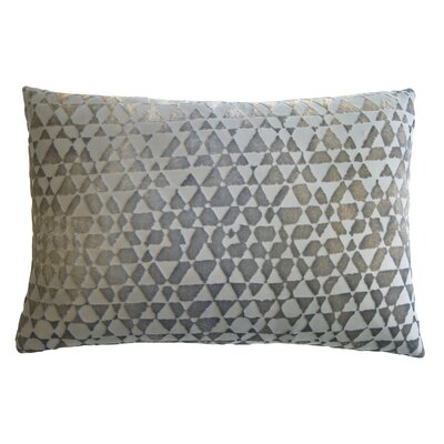 Triangles Velvet Lumbar Pillow Color: Nickel