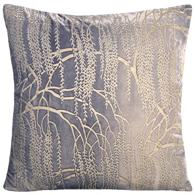 Willow Metallic Velvet Throw Pillow Color: Silver