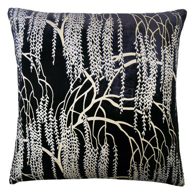 Willow Metallic Velvet Throw Pillow Color: Silver Black