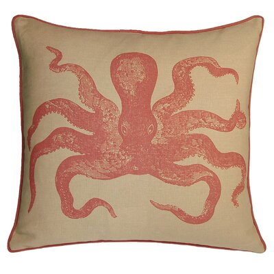 Nauticals Cuttlefish Throw Pillow Color: Coral Sand