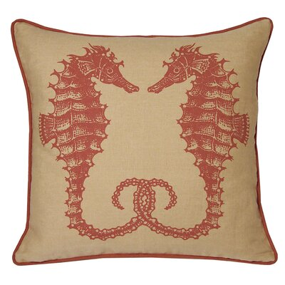 Nauticals Seahorse Throw Pillow Color: Coral Sand