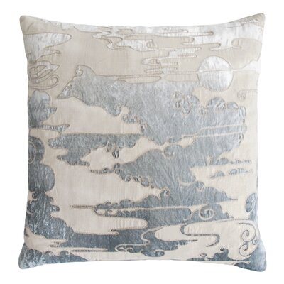 Cloud Appliqued Linen Pillow Color: Seaglass