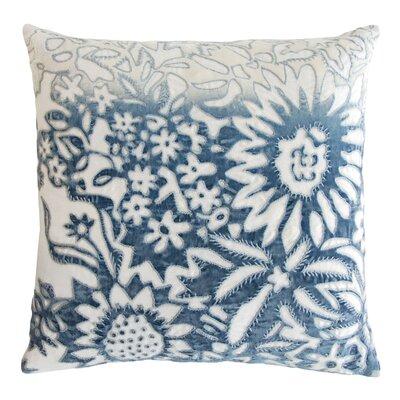 Garland Appliqued Linen Throw Pillow Color: Azul