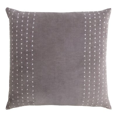 Stripe Stitched Cotton Velvet Pillow Color: Ethereal Gray