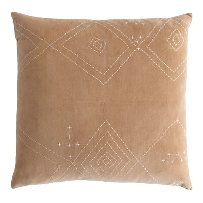 Diamond Stitched Cotton Velvet Pillow Color: Nickel