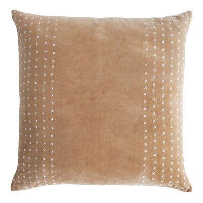 Stripe Stitched Cotton Velvet Pillow Color: Nickel