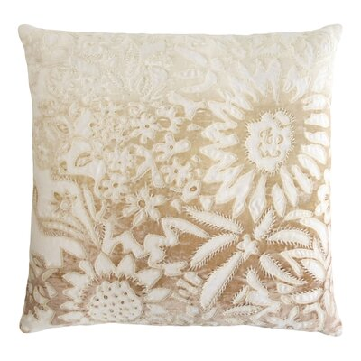 Garland Appliqued Linen Throw Pillow Color: Nickel