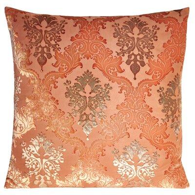 Brocade Velvet Pillow Color: Mango, Size: 22 H x 22 W x 3 D