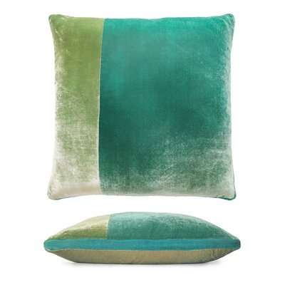 Color Block Velvet Pillow Color: Celadon
