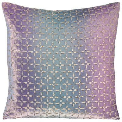 Metallic Petals Velvet Pillow Color: Cornflower