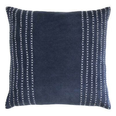 Stripe Stitched Cotton Velvet Pillow Color: Indigo