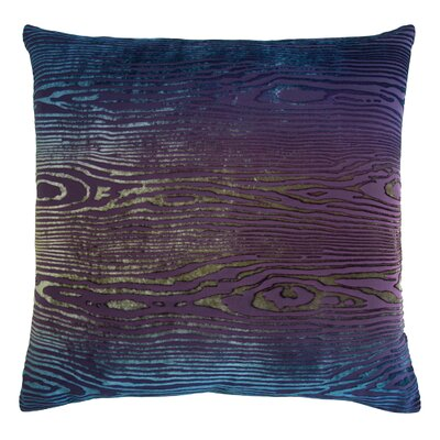 Woodgrain Velvet Throw Pillow Color: Peacock, Size: 18 H x 18 W x 4 D