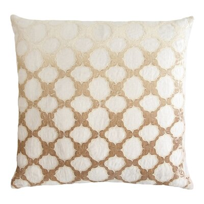 Fretwork Appliqued Linen Pillow Color: Nickel