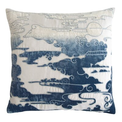 Cloud Appliqued Linen Pillow Color: Azul