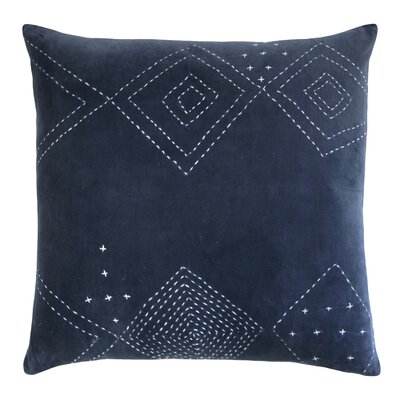Diamond Stitched Cotton Velvet Pillow Color: Indigo
