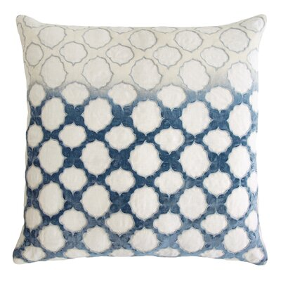 Fretwork Appliqued Linen Pillow Color: Azul