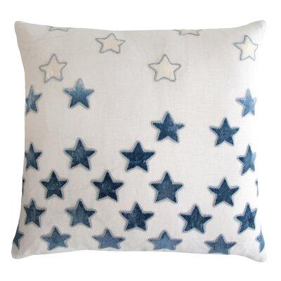 Stars Appliqued Linen Pillow Color: Azul