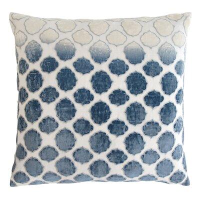 Tile Appliqued Linen Throw Pillow Color: Azul