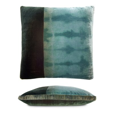 Color Block Velvet Pillow Color: Green/Gold/Brown