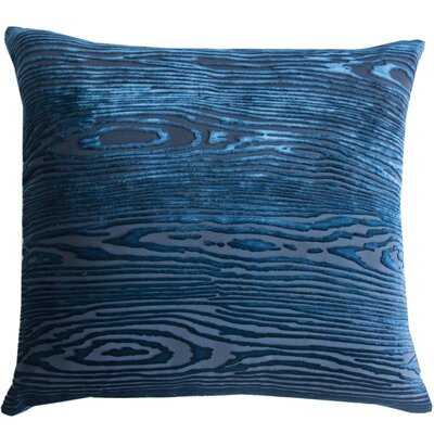Woodgrain Velvet Throw Pillow Color: Cobalt Black, Size: 22 H x 22 W x 3 D