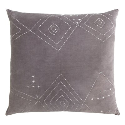 Diamond Stitched Cotton Velvet Pillow Color: Ethereal Gray