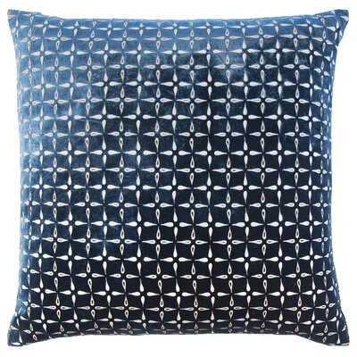 Metallic Petals Velvet Pillow Color: Cobalt Black
