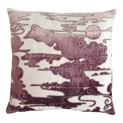 Cloud Appliqued Linen Pillow Color: Wisteria