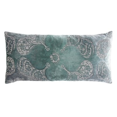 Persian Velvet Lumbar Pillow Color: Jade, Size: 12 x 24