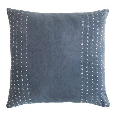 Stripe Stitched Cotton Velvet Pillow Color: Azul