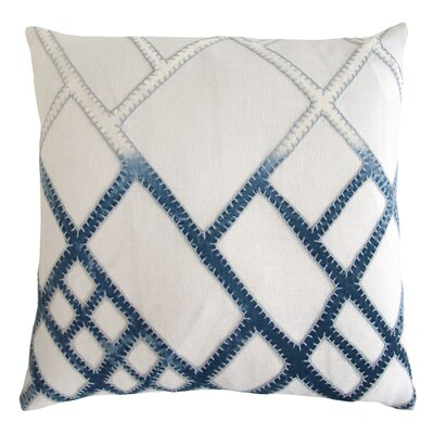 Net Appliqued Linen Pillow Color: Azul