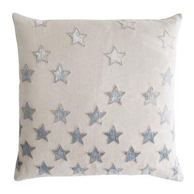 Stars Appliqued Linen Pillow Color: Seaglass