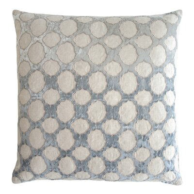 Fretwork Appliqued Linen Pillow Color: Seaglass