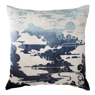 Cloud Appliqued Linen Pillow Color: Twilight