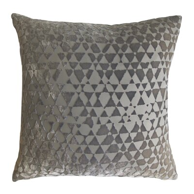 Triangles Velvet Throw Pillow Color: Nickel, Size: 18 x 18