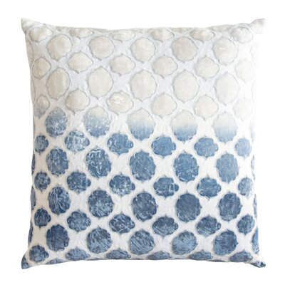 Tile Appliqued Linen Throw Pillow Color: Azul