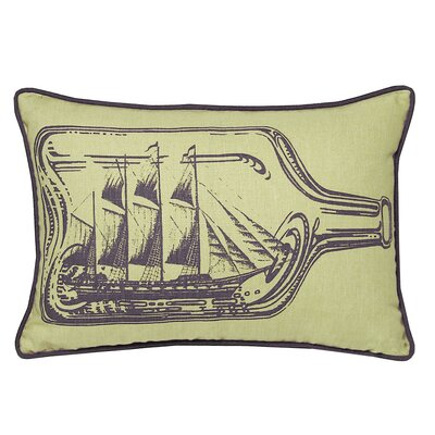 Nauticals Ship In A Bottle Lumbar Pillow Color: Aquarium