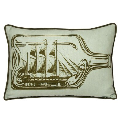 Nauticals Ship In A Bottle Lumbar Pillow Color: Seaglass