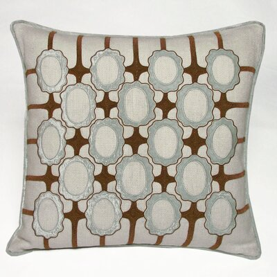 Frames Embellished Linen Throw Pillow Color: Powder Blue