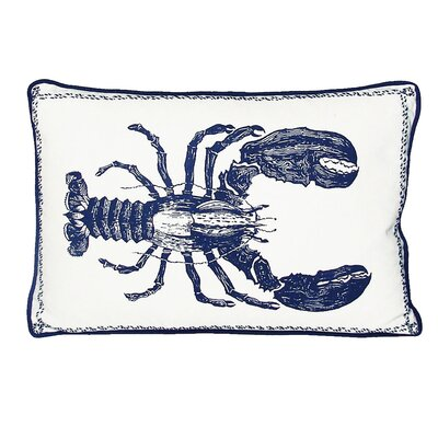 Nauticals Lobster Lumbar Pillow Color: Indigo