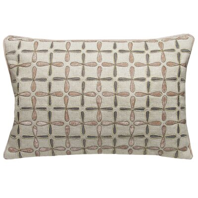 Petal Flower Embellished Linen Lumbar Pillow Size: 15 x 19, Color: Blush