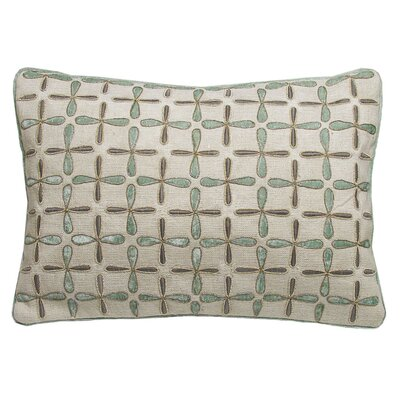 Petal Flower Embellished Linen Lumbar Pillow Size: 21 x 21, Color: Mint