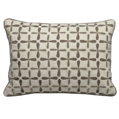Petal Flower Embellished Linen Lumbar Pillow Size: 21 x 21, Color: Taupe