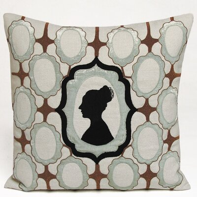 Silhouette Embellished Linen Pillow Color: Powder Blue