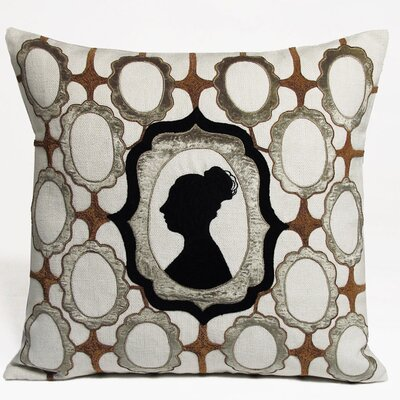 Silhouette Embellished Linen Throw Pillow Color: Taupe