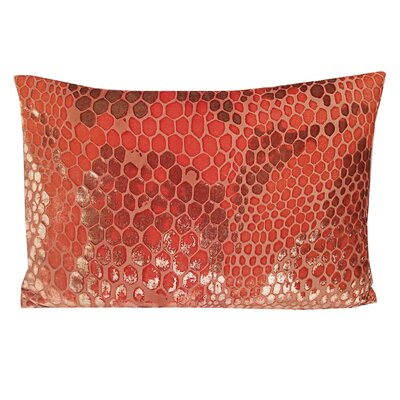Snakeskin Velvet Lumbar Pillow Color: Coral