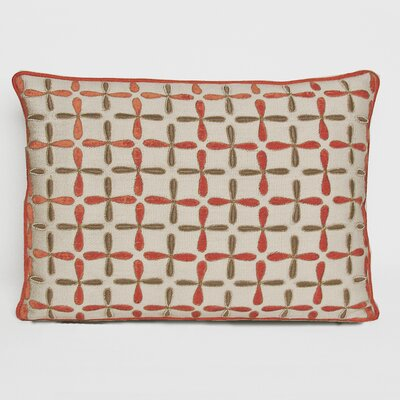 Petal Flower Embellished Linen Lumbar Pillow Color: Coral, Size: 15 x 19
