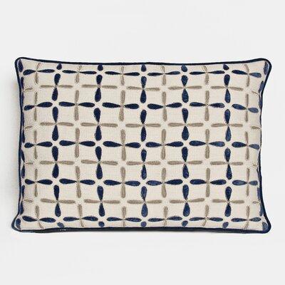 Petal Flower Embellished Linen Lumbar Pillow Color: Indigo, Size: 15 x 19